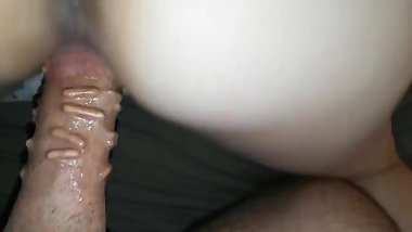 Riding my wife's pussy doggy style with my cock implants