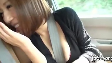 Appealing Japan babe public flashing and sex on a parking lot
