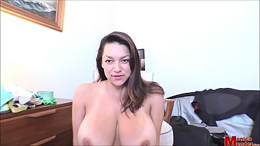 Monica Mendez fitting her bra and squeezing her huge tits for her fans