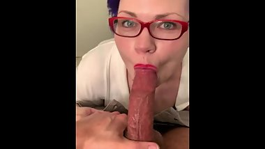 Busty Milf Gives Sloppy Blowjob and Swallow
