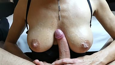 hot milf with big boobs gives fantastic handjob pov