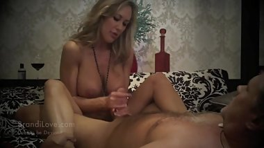 Hot wife Brandi Love strokes lucky guy's cock until he jizzes all over