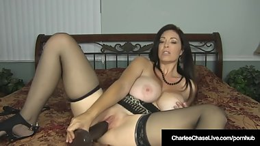 Busty Milf Charlee Chase Slams Snatch With Big Black Dildo!