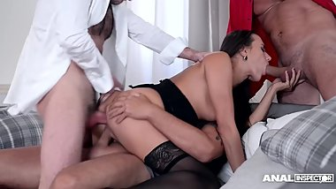 Anal Inspectors bang Czech chick Mea Melone in must-see ass fuck gangbang