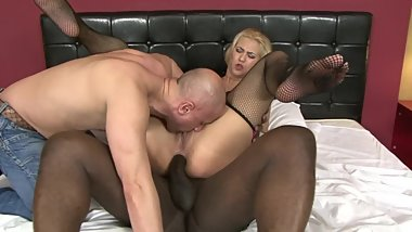 Big Booty Blonde Gets Stuff by Big Black Cock While Other Watches